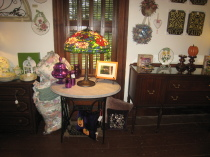 Oval Marble top parlor table with Tiffany Style lamp