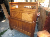 Victorian Oak Twin Beds, pair
