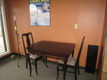 Maple table w chairs, Cast iron floor lamp