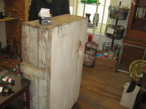 Small early country cupboard, Painted oak washstand, Cherry tool box, Nice kitchen table